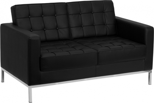 Flash Furniture HERCULES Lacey Series Flash Furniture Contemporary Black Leather Love Seat with Stainless Steel Frame [ZB-LACEY-831-2-LS-BK-GG]