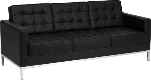 Flash Furniture HERCULES Lacey Series Flash Furniture Contemporary Black Leather Sofa with Stainless Steel Frame [ZB-LACEY-831-2-SOFA-BK-GG]