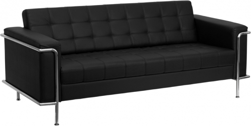 Flash Furniture HERCULES Lesley Series Flash Furniture Contemporary Black Leather Sofa with Encasing Frame [ZB-LESLEY-8090-SOFA-BK-GG]