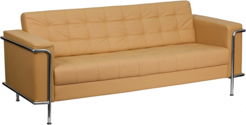 Flash Furniture HERCULES Lesley Series Flash Furniture Contemporary Light Brown Leather Sofa with Encasing Frame [ZB-LESLEY-8090-SOFA-BRN-GG]