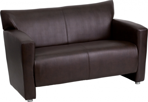 Flash Furniture HERCULES Majesty Series Brown Leather Love Seat [222-2-BN-GG]