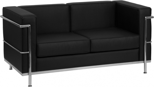 Flash Furniture HERCULES Regal Series Flash Furniture Contemporary Black Leather Love Seat with Encasing Frame [ZB-REGAL-810-2-LS-BK-GG]
