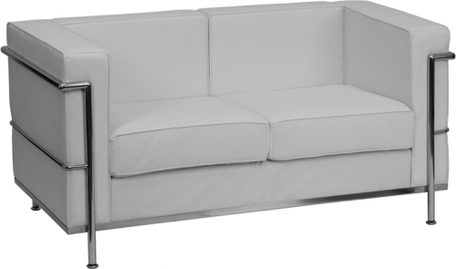 Flash Furniture HERCULES Regal Series Flash Furniture Contemporary White Leather Love Seat with Encasing Frame [ZB-REGAL-810-2-LS-WH-GG]