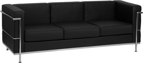 Flash Furniture HERCULES Regal Series Flash Furniture Contemporary Black Leather Sofa with Encasing Frame [ZB-REGAL-810-3-SOFA-BK-GG]