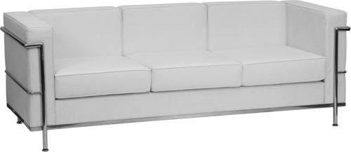 Flash Furniture HERCULES Regal Series Flash Furniture Contemporary White Leather Sofa with Encasing Frame [ZB-REGAL-810-3-SOFA-WH-GG]