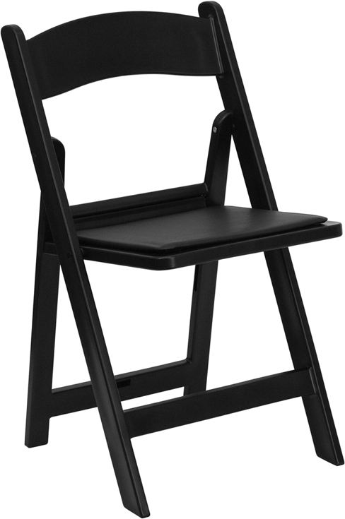 Flash Furniture HERCULES Series 1000 lb. Capacity Black Resin Folding Chair with Black Vinyl Padded Seat [LE-L-1-BLACK-GG]