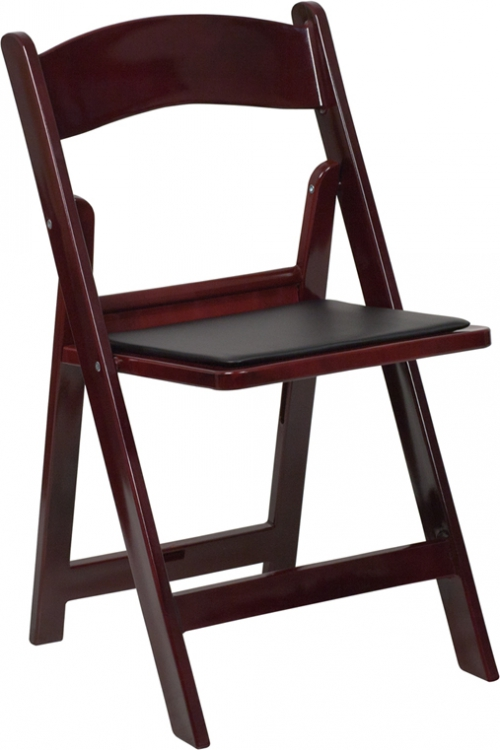 Flash Furniture HERCULES Series 1000 lb. Capacity Red Mahogany Resin Folding Chair with Black Vinyl Padded Seat [LE-L-1-MAH-GG]