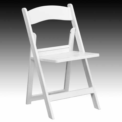 Flash Furniture HERCULES Series 1000 Lb. Capacity White Resin Folding Chair  With Slatted Seat [
