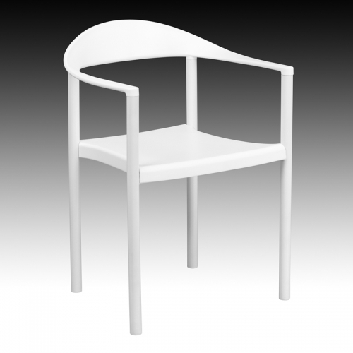 Flash Furniture HERCULES Series 1000 lb. Capacity White Plastic Cafe Stack Chair [RUT-418-WH-GG]