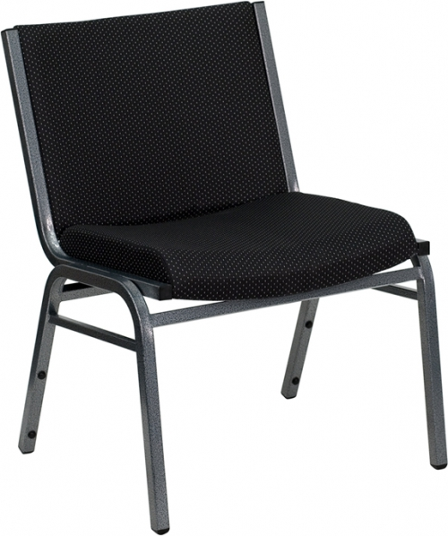 Flash Furniture HERCULES Series 1000 lb. Capacity Big and Tall Extra Wide Black Fabric Stack Chair [XU-60555-BK-GG]