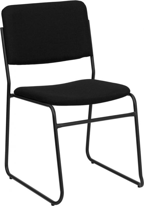 Flash Furniture HERCULES Series 1500 lb. Capacity High Density Black Fabric Stacking Chair with Sled Base [XU-8700-BLK-B-30-GG]