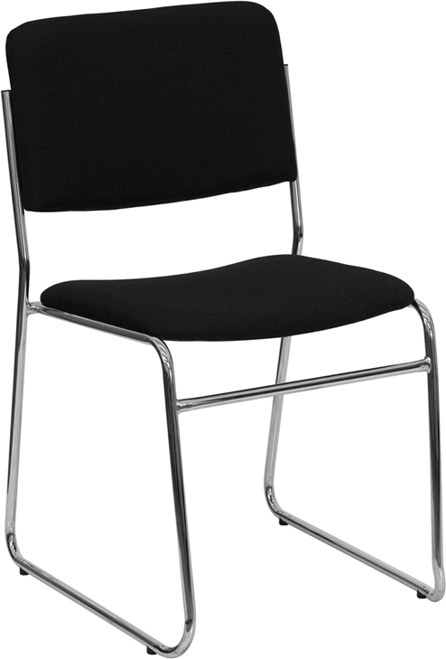 Flash Furniture HERCULES Series 1500 lb. Capacity Black Fabric High Density Stacking Chair with Chrome Sled Base [XU-8700-CHR-B-30-GG]