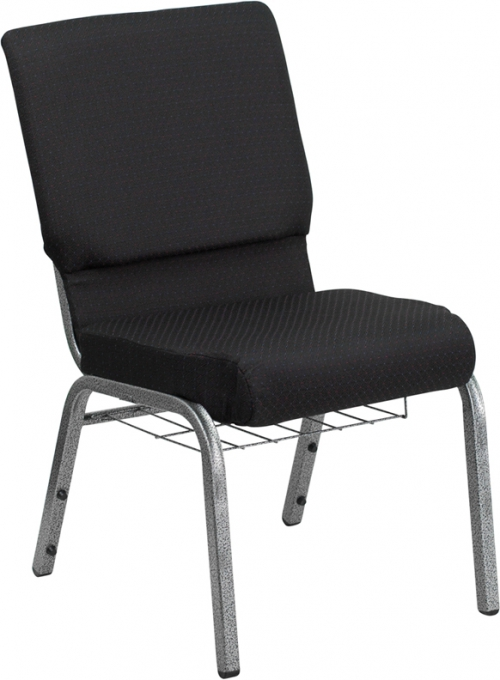 Flash Furniture HERCULES Series 18.5'' Wide Black Patterned Church Chair with 4.25'' Thick Seat, Communion Cup Book Rack - Silver Vein Frame [FD-CH02185-SV-JP02-BAS-GG]