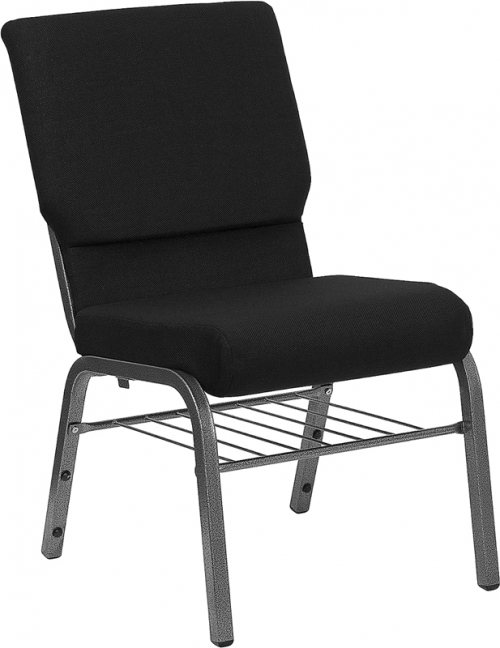 Flash Furniture HERCULES Series 18.5'' Wide Black Church Chair with 4.25'' Thick Seat Book Rack - Silver Vein Frame [XU-CH-60096-BK-SV-BAS-GG]