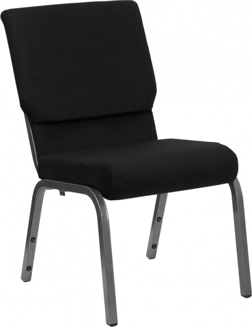 Flash Furniture HERCULES Series 18.5'' Wide Black Stacking Church Chair with 4.25'' Thick Seat - Silver Vein Frame [XU-CH-60096-BK-SV-GG]