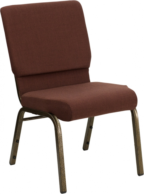 Flash Furniture HERCULES Series 18.5'' Wide Brown Stacking Church Chair with 4.25'' Thick Seat - Gold Vein Frame [FD-CH02185-GV-10355-GG]