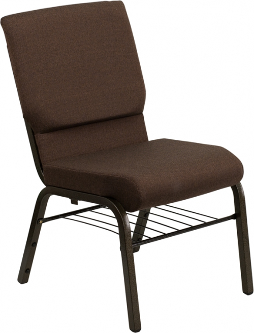 Flash Furniture HERCULES Series 18.5'' Wide Brown Church Chair with 4.25'' Thick Seat Book Rack - Gold Vein Frame [XU-CH-60096-BN-BAS-GG]