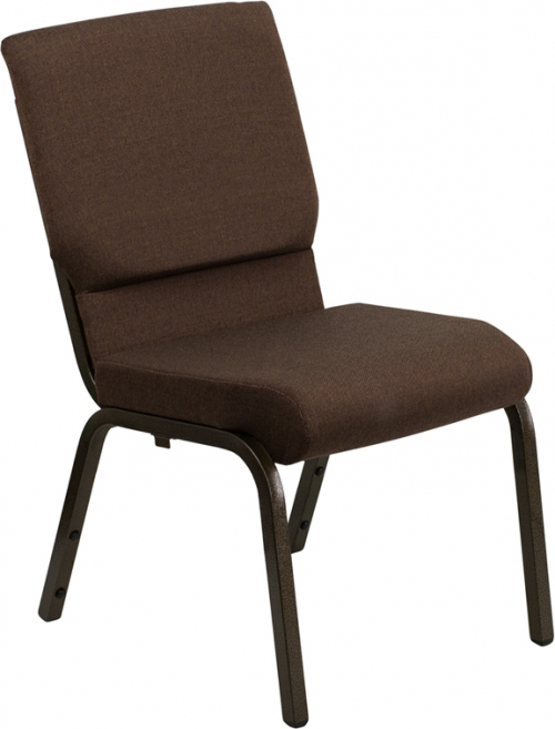 Flash Furniture HERCULES Series 18.5'' Wide Brown Stacking Church Chair with 4.25'' Thick Seat - Gold Vein Frame [XU-CH-60096-BN-GG]