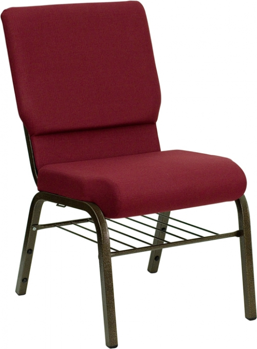 Flash Furniture HERCULES Series 18.5'' Wide Burgundy Church Chair with 4.25'' Thick Seat Book Rack - Gold Vein Frame [XU-CH-60096-BY-BAS-GG]