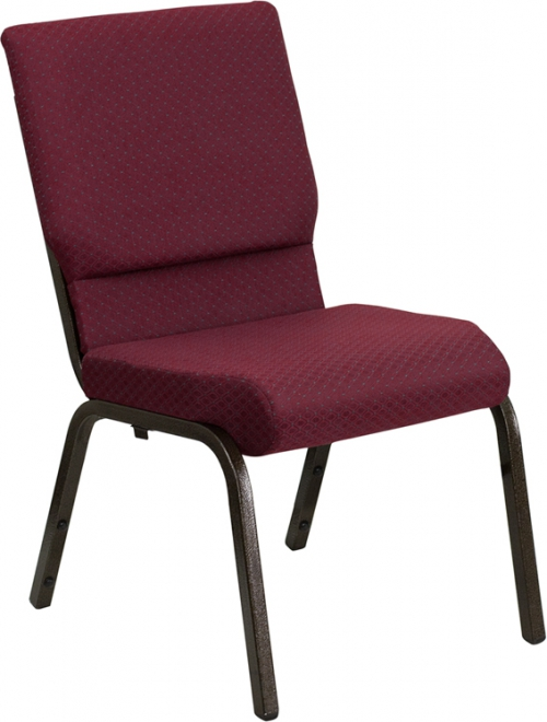 Flash Furniture HERCULES Series 18.5'' Wide Burgundy Patterned Stacking Church Chair with 4.25'' Thick Seat - Gold Vein Frame [XU-CH-60096-BYXY56-GG]
