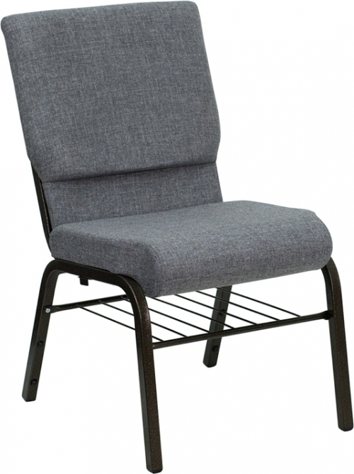 Flash Furniture HERCULES Series 18.5'' Wide Gray Church Chair with 4.25'' Thick Seat Book Rack - Gold Vein Frame [XU-CH-60096-BEIJING-GY-BAS-GG]