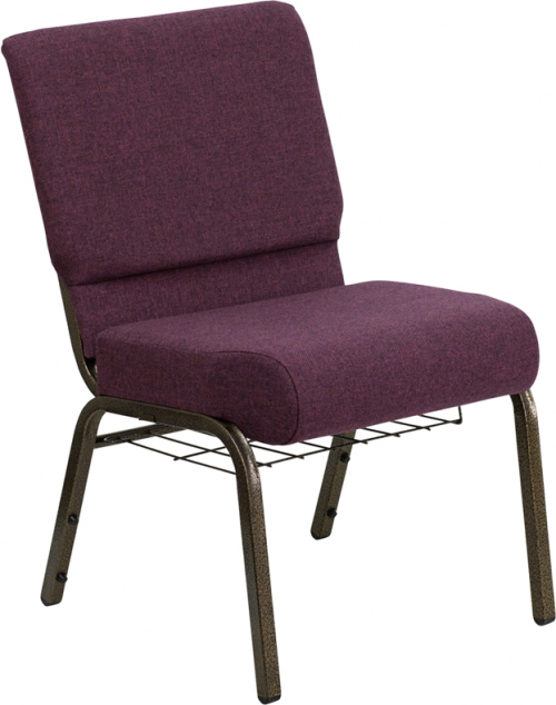 Flash Furniture HERCULES Series 21'' Extra Wide Plum Church Chair with 4'' Thick Seat, Communion Cup Book Rack - Gold Vein Frame [FD-CH0221-4-GV-005-BAS-GG]