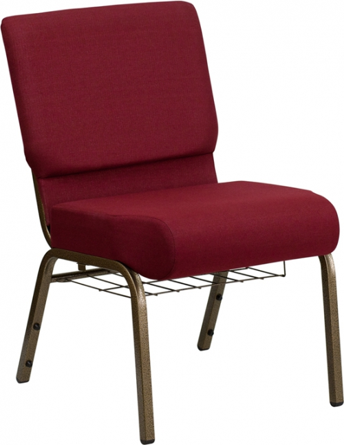 Flash Furniture HERCULES Series 21'' Extra Wide Burgundy Church Chair with 4'' Thick Seat, Communion Cup Book Rack - Gold Vein Frame [FD-CH0221-4-GV-3169-BAS-GG]