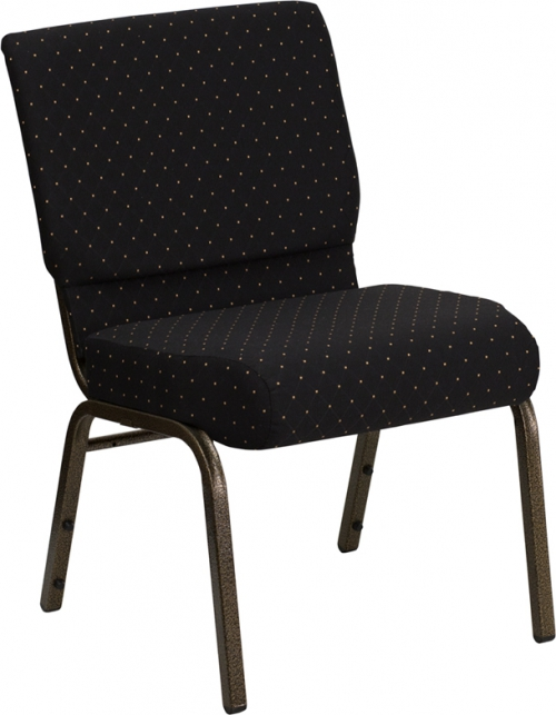 Flash Furniture HERCULES Series 21'' Extra Wide Black Dot Patterned Stacking Church Chair with 4'' Thick Seat - Gold Vein Frame [FD-CH0221-4-GV-S0806-GG]