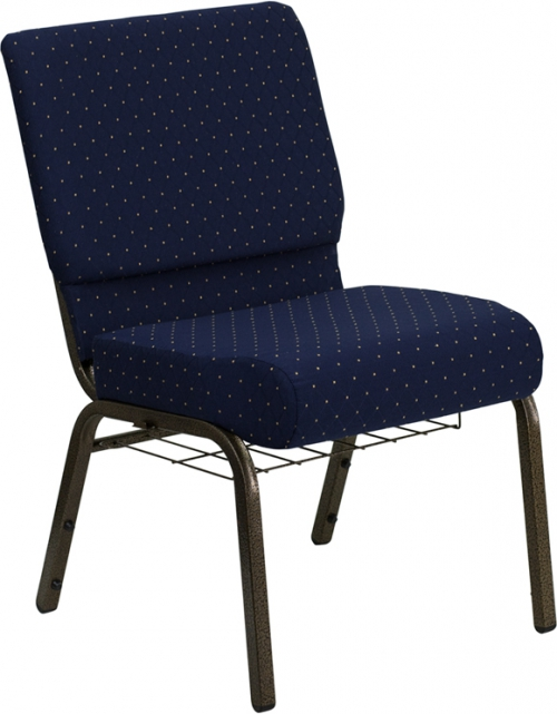Flash Furniture HERCULES Series 21'' Extra Wide Navy Blue Dot Patterned Church Chair with 4'' Thick Seat, Communion Cup Book Rack - Gold Vein Frame [FD-CH0221-4-GV-S0810-BAS-GG]