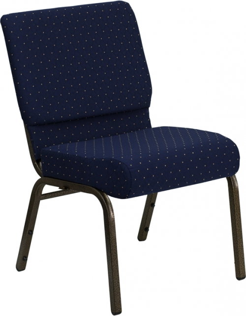 Flash Furniture HERCULES Series 21'' Extra Wide Navy Blue Dot Patterned Stacking Church Chair with 4'' Thick Seat - Gold Vein Frame [FD-CH0221-4-GV-S0810-GG]