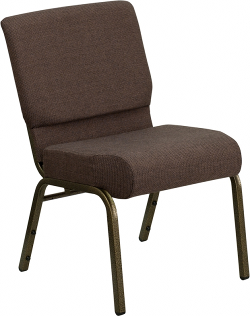 Flash Furniture HERCULES Series 21'' Extra Wide Brown Stacking Church Chair with 4'' Thick Seat - Gold Vein Frame [FD-CH0221-4-GV-S0819-GG]