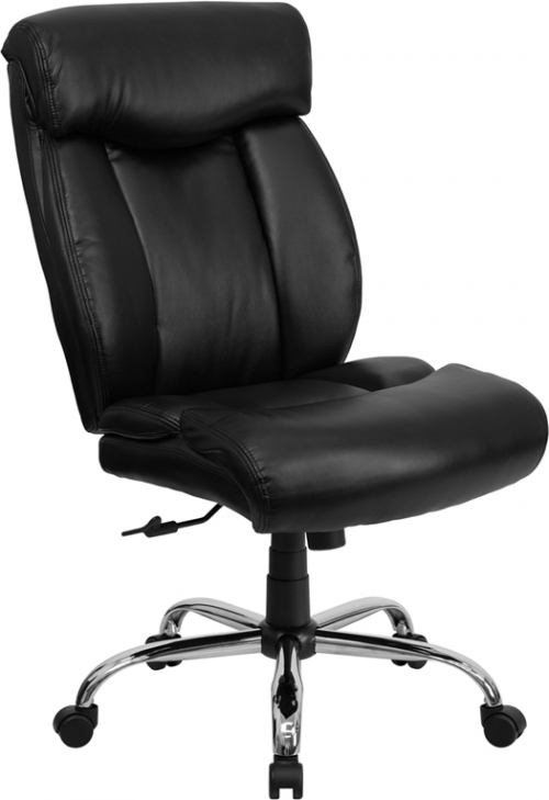 Flash Furniture HERCULES Series 350 lb. Capacity Big & Tall Black Leather Office Chair [GO-1235-BK-LEA-GG]