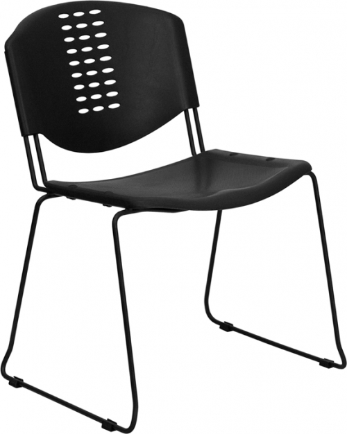 Flash Furniture HERCULES Series 400 lb. Capacity Black Plastic Stack Chair with Black Powder Coated Frame Finish [RUT-NF02-BK-GG]