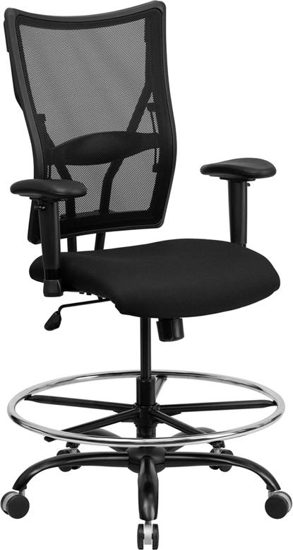 Flash Furniture HERCULES Series 400 lb. Capacity Big & Tall Black Mesh Drafting Stool with Arms [WL-5029SYG-AD-GG]