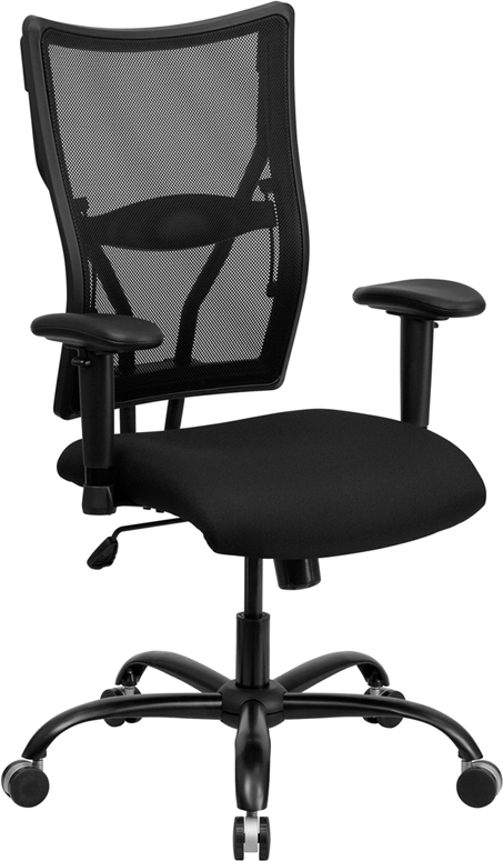 Flash Furniture HERCULES Series 400 lb. Capacity Big & Tall Black Mesh Office Chair with Arms [WL-5029SYG-A-GG]