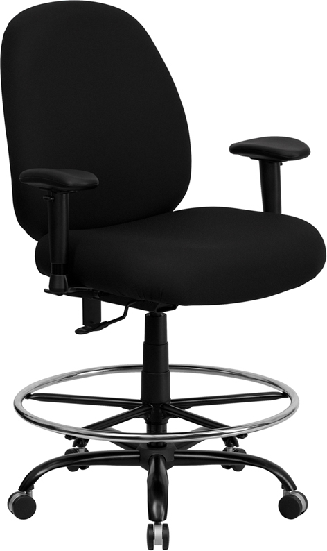 Flash Furniture HERCULES Series 400 lb. Capacity Big and Tall Black Fabric Drafting Stool with Arms and Extra WIDE Seat [WL-715MG-BK-AD-GG]