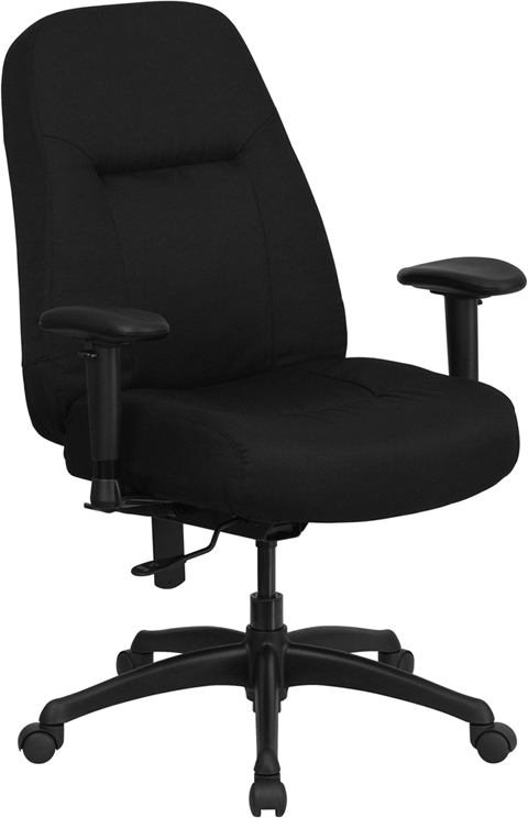 Flash Furniture HERCULES Series 400 lb. Capacity Flash Furniture High Back Big & Tall Black Fabric Office Chair with Height Adjustable Arms and Extra WIDE Seat [WL-726MG-BK-A-GG]
