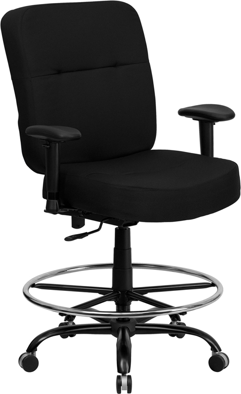 Flash Furniture HERCULES Series 400 lb. Capacity Big & Tall Black Fabric Office Chair with Arms and Extra WIDE Seat [WL-735SYG-BK-A-GG]