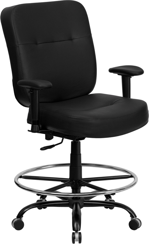 Flash Furniture HERCULES Series 400 lb. Capacity Big and Tall Black Leather Office Chair with Arms and Extra WIDE Seat [WL-735SYG-BK-LEA-A-GG]