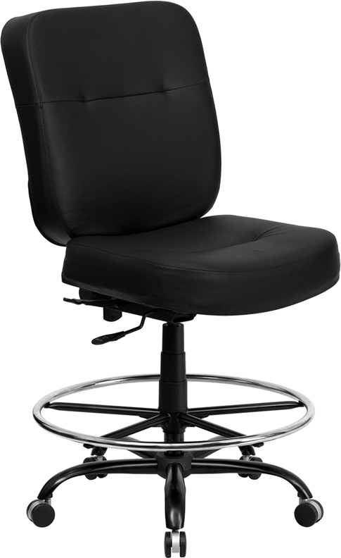 Flash Furniture HERCULES Series 400 lb. Capacity Big & Tall Black Leather Office Chair with Extra WIDE Seat [WL-735SYG-BK-LEA-GG]