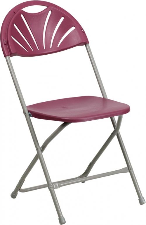 Flash Furniture HERCULES Series 440 lb. Capacity Burgundy Plastic Fan Back Folding Chair [BH-D0002-BG-GG]