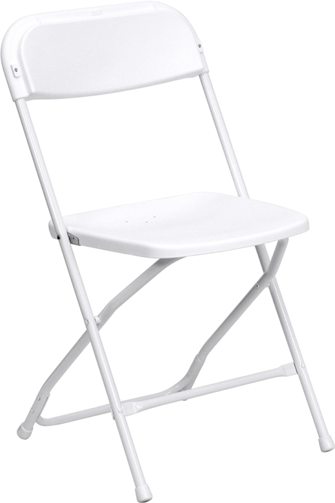 Flash Furniture HERCULES Series 800 lb. Capacity Premium White Plastic Folding Chair [LE-L-3-WHITE-GG]