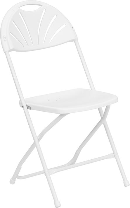 Flash Furniture HERCULES Series 800 lb. Capacity White Plastic Fan Back Folding Chair [LE-L-4-WHITE-GG]