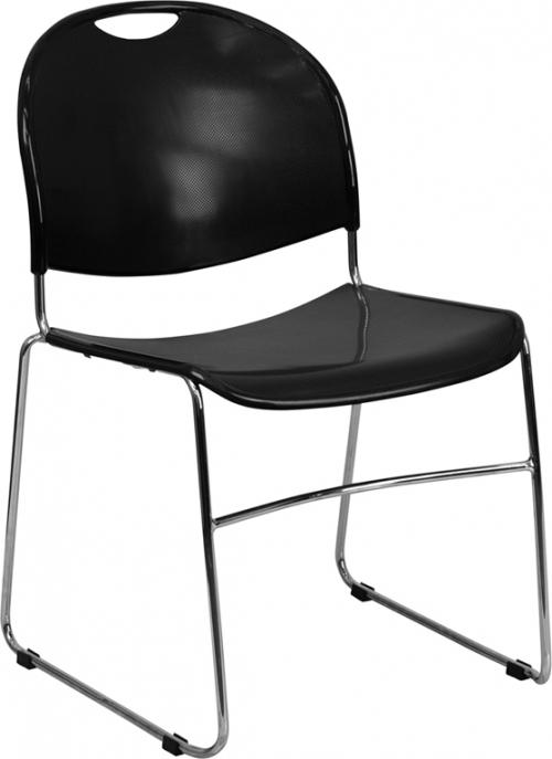 Flash Furniture HERCULES Series 880 lb. Capacity Black High Density, Ultra Compact Stack Chair with Chrome Frame [RUT-188-BK-CHR-GG]