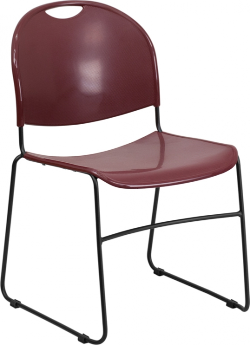 Flash Furniture HERCULES Series 880 lb. Capacity Burgundy High Density, Ultra Compact Stack Chair with Black Frame [RUT-188-BY-GG]