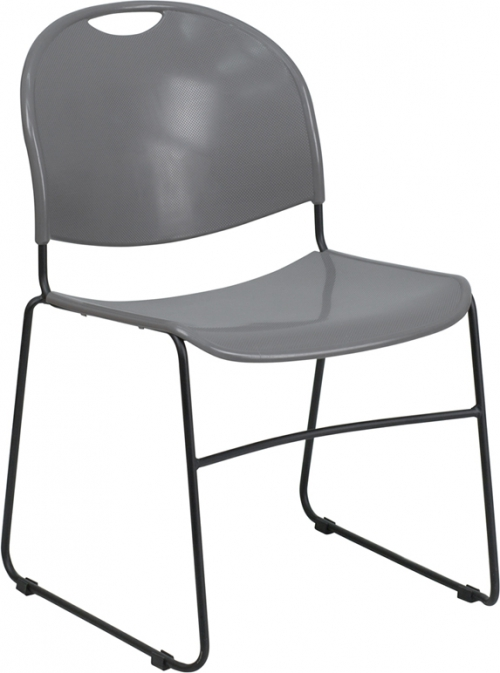 Flash Furniture HERCULES Series 880 lb. Capacity Gray High Density, Ultra Compact Stack Chair with Black Frame [RUT-188-GY-GG]