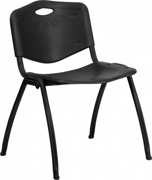 Flash Furniture HERCULES Series 880 lb. Capacity Black Polypropylene Stack Chair [RUT-D01-BK-GG]