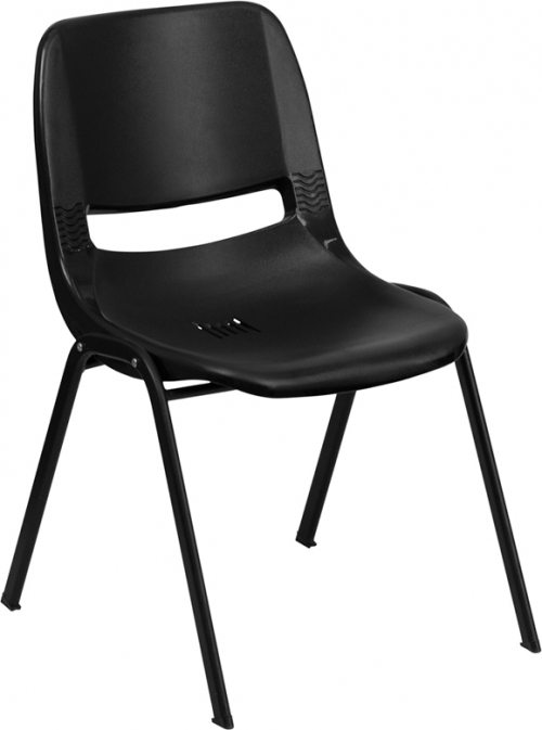 Flash Furniture HERCULES Series 880 lb. Capacity Black Ergonomic Shell Stack Chair [RUT-EO1-BK-GG]