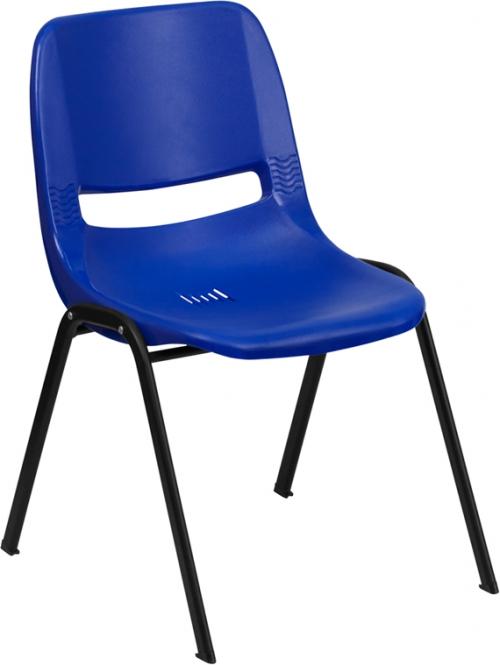 Flash Furniture HERCULES Series 880 lb. Capacity Blue Ergonomic Shell Stack Chair [RUT-EO1-BL-GG]