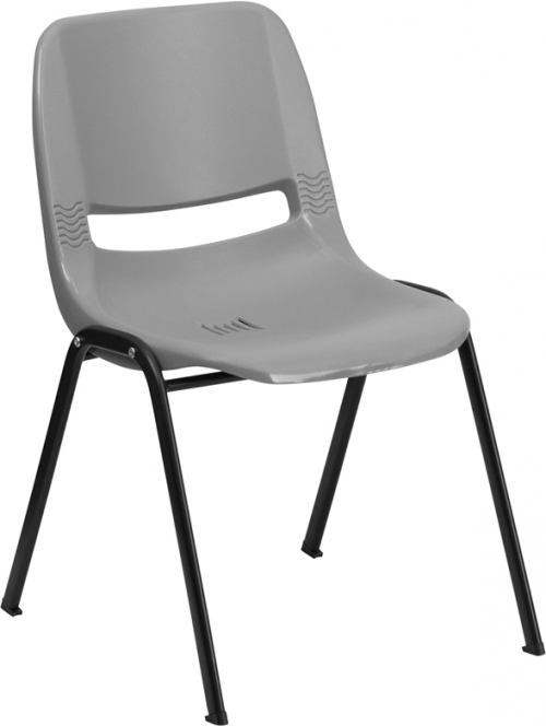 Flash Furniture HERCULES Series 880 lb. Capacity Gray Ergonomic Shell Stack Chair [RUT-EO1-GY-GG]